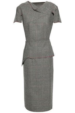 ROLAND MOURET Pleated Prince of Wales checked wool peplum midi dress