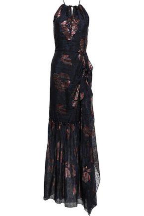 ROLAND MOURET Hogan metallic silk-blend fil coupé gown