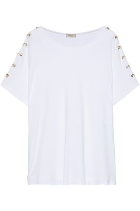 TEMPERLEY LONDON Vita embellished stretch-jersey T-shirt