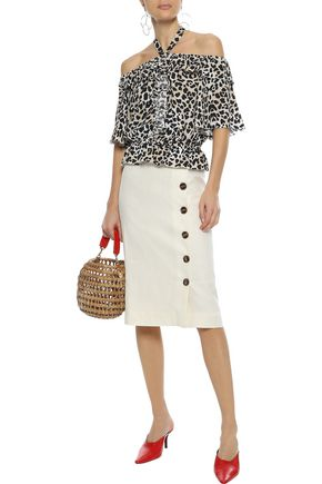 TEMPERLEY LONDON Wild Cat ruffled leopard-print crepe halterneck blouse