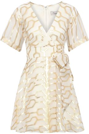 TEMPERLEY LONDON Tapis wrap-effect metallic fil coupé silk-blend mini dress