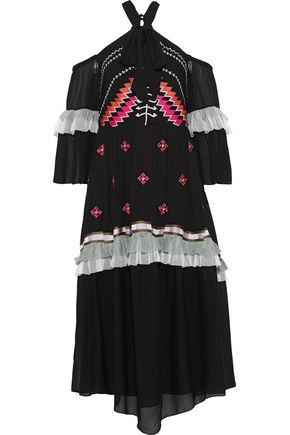 TEMPERLEY LONDON Traveller cold-shoulder ruffled embroidered crepe midi dress