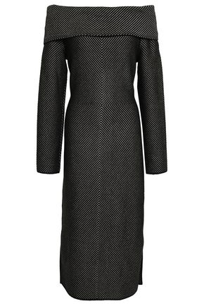 ROLAND MOURET Off-the-shoulder knitted midi dress