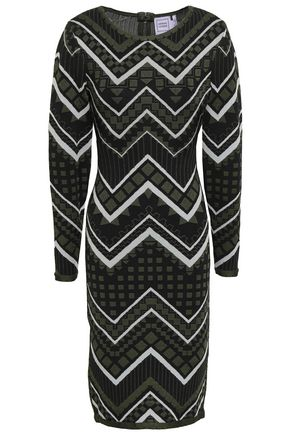 HERVÉ LÉGER Metallic jacquard-knit dress