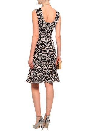 HERVÉ LÉGER Fluted leopard-print jacquard -knit dress