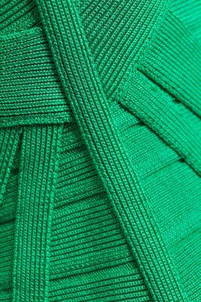 HERVÉ LÉGER Off-the-shoulder ruffled bandage mini dress