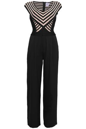HERVÉ LÉGER Paneled bandage and ponte jumpsuit