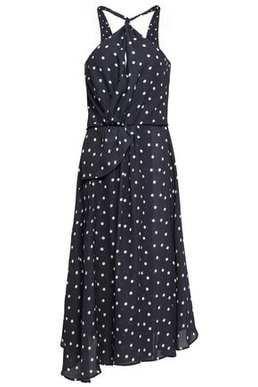 PAPER London Twist-front polka-dot crepe midi dress