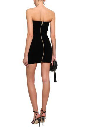 BALMAIN Strapless embellished velvet mini dress