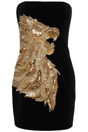 BALMAIN Strapless embellished velvet mini dress