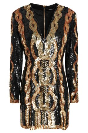 BALMAIN Sequined tulle mini dress