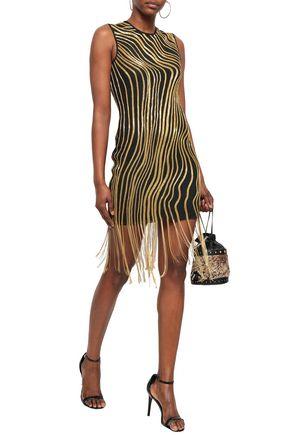 BALMAIN Fringed embellished tulle mini dress