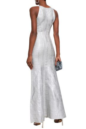 HERVÉ LÉGER Cutout metallic bandage maxi dress