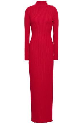 BALMAIN Ribbed merino wool turtleneck maxi dress