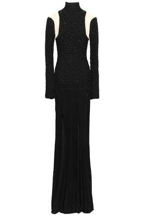 BALMAIN Tulle-paneled smocked stretch-knit turtleneck gown