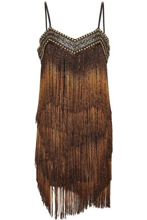 BALMAIN Embellished fringed tulle mini dress