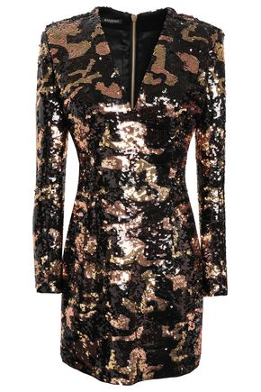BALMAIN Sequined satin mini dress