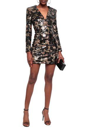 BALMAIN Sequined satin mini dress