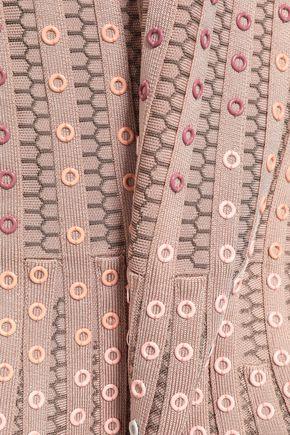HERVÉ LÉGER Embellished jacquard-knit bandage dress
