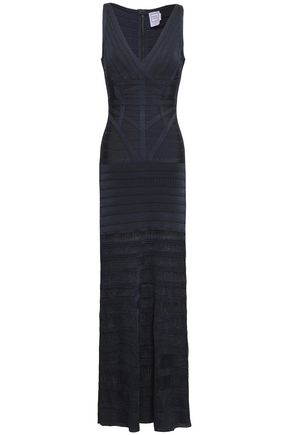 HERVÉ LÉGER Crochet-knit and bandage maxi dress