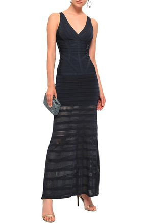 HERVÉ LÉGER Zelina pointelle-paneled bandage maxi dress
