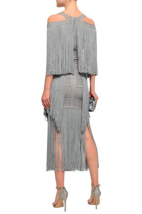 HERVÉ LÉGER Cold-shoulder fringed metallic jacquard-knit midi dress