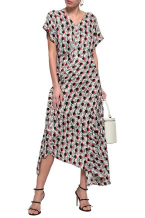 MARNI Printed silk and cotton-blend midi dress