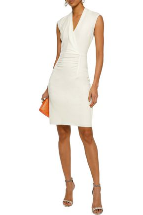 b9f6d93d6ca HALSTON HERITAGE Wrap-effect ruched wool dress