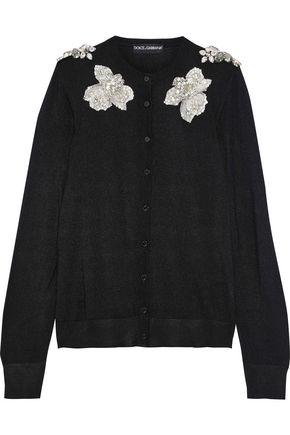 DOLCE & GABBANA Floral-appliquéd silk cardigan