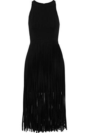 HALSTON HERITAGE Fringed crepe mini dress
