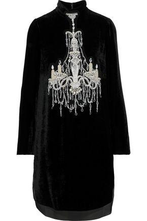 DOLCE & GABBANA Embellished chiffon-trimmed velvet mini dress