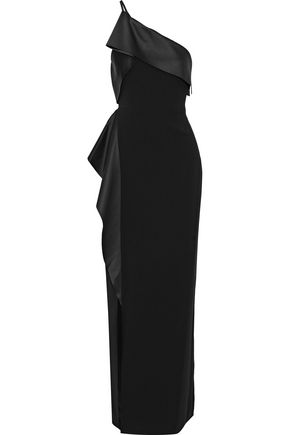 HALSTON HERITAGE One-shoulder draped satin-paneled crepe gown