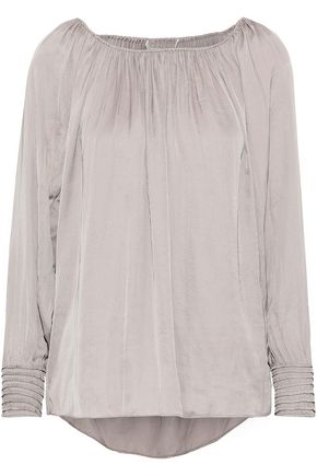 HALSTON HERITAGE Gathered satin-crepe top