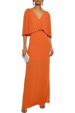 Halston Heritage Woman Layered Pleated Crepe Gown Orange