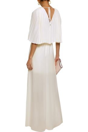 87a7cf8dd35 ... HALSTON HERITAGE Layered pleated crepe de chine maxi dress