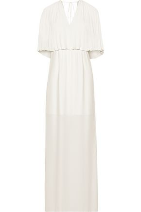 HALSTON HERITAGE Layered pleated crepe de chine maxi dress
