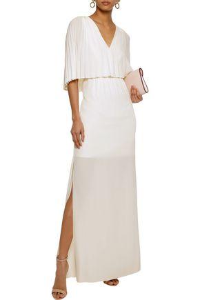 0cf789f5f29 ... HALSTON HERITAGE Layered pleated crepe de chine maxi dress ...