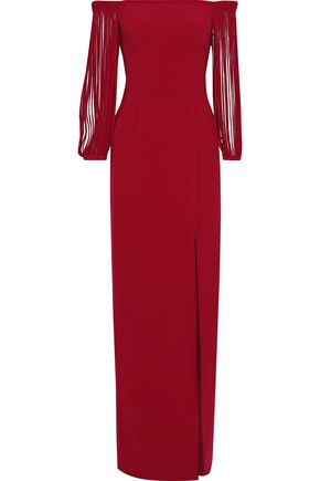 HALSTON HERITAGE Off-the-shoulder fringed crepe gown