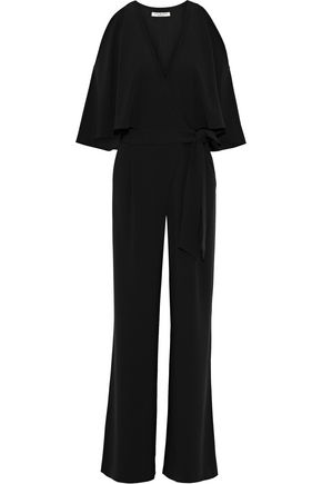 HALSTON HERITAGE Cold-shoulder layered crepe wide-leg jumpsuit