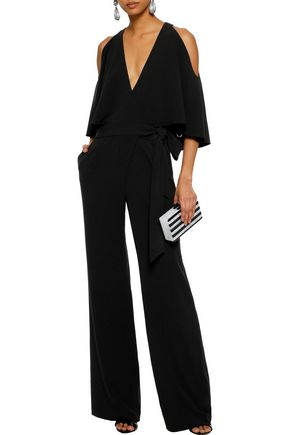 HALSTON HERITAGE Wrap-effect layered crepe jumpsuit