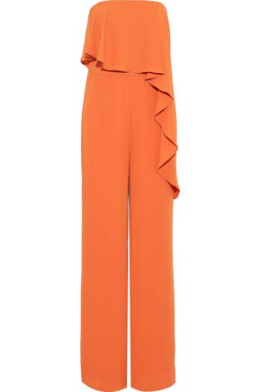 HALSTON HERITAGE Strapless layered crepe jumpsuit