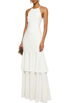 HALSTON HERITAGE Tiered mesh-paneled crepe gown