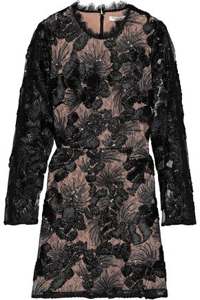 HALSTON HERITAGE Sequin-embellished embroidered tulle mini dress