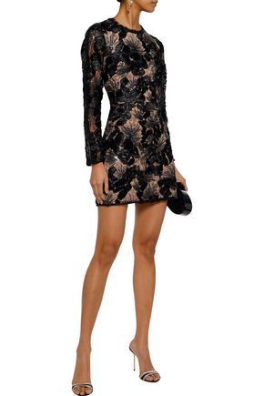 0f68a0780a HALSTON HERITAGE Sequin-embellished embroidered tulle mini dress