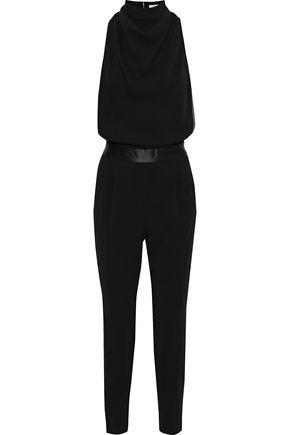HALSTON HERITAGE Satin-trimmed draped crepe jumpsuit