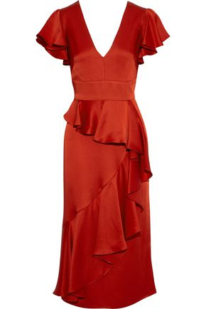 TEMPERLEY LONDON Aviator ruffled satin-crepe midi dress
