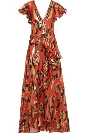 TEMPERLEY LONDON Audrey ruffled metallic silk-blend jacquard gown