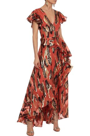 b91f8e1a0bd0 TEMPERLEY LONDON Audrey ruffled metallic silk-blend jacquard gown