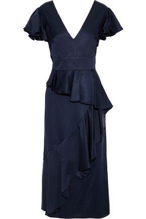 TEMPERLEY LONDON Aviator ruffled satin-crepe midi dress