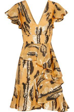 TEMPERLEY LONDON Ruffled metallic fil coupé silk-blend mini dress